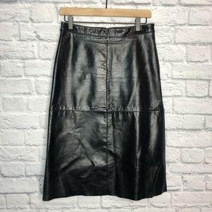 Gap Black Genuine Leather Skirt